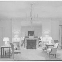 Ellsworth C. Warner, residence at Pelican Rd. and El Vedado, Palm Beach, Florida. Living room, to fireplace, horizontal (night view)