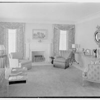 Herman Wall, residence at 245 E. Rivo Alta Dr., Miami Beach, Florida. Living room, to fireplace