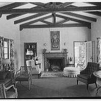 H.T. Morgan, residence at 31 LaGorce Cir., Miami Beach, Florida. Living room, to fireplace