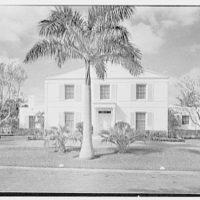 James H. Bereman, residence at 6650 Roxbury Ln., LaGorce Island, Miami Beach, Florida. Entrance facade, axis view, 10 a.m.