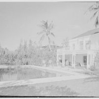 Jay O'Brien, residence at 990 Adam Rd., Palm Beach, Florida. Pool and house, horizontal