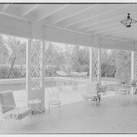 Jay O'Brien, residence at 990 Adam Rd., Palm Beach, Florida. Porch, to pool