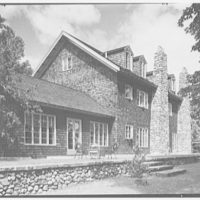 J.H. Buchman, Cedar Ledge, residence in Schroon Lake, New York. East facade from left