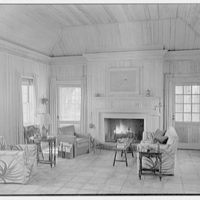 Martin L. Quinn, Jr., residence in Hobe Sound, Florida. Living room, to fireplace
