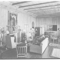Mrs. Benjamin Rogers, Thatchcote, residence in Palm Beach, Florida. Playhouse living room, to bar