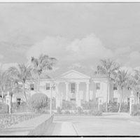Mrs. Francis A. Shaughnessy, residence on Ocean Blvd., Palm Beach, Florida. Entrance facade through fence III