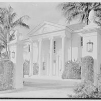 Mrs. Francis A. Shaughnessy, residence on Ocean Blvd., Palm Beach, Florida. Portico through gateposts