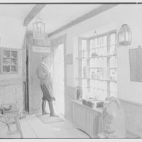 Mrs. Lawrence J. Ullman, Heritage House, business on Prospect Ave., Tarrytown, New York. Interior, country store, Mr. Bean looking out