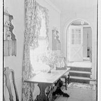 Robert I. Powell, residence on Riverbank Rd., RFD no. 1, Stamford, Connecticut. Living room table, sharp