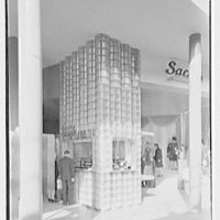 Sachs Quality Furniture Inc., business at 150th & 3rd Ave., New York City. Glass brick detail