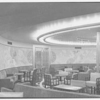 S.S. America, United States Lines. Smoking room, to mural