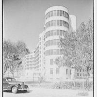 Triboro Hospital for Tuberculosis, Parsons Blvd., Jamaica, New York. Right wing framed by trees