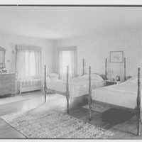 C.G. Michalis, residence in Garrison, New York. Master bedroom, to beds