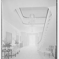 Charles S. Davis, residence at 8 Lake Trail South, Palm Beach, Florida. Stair hall, to west