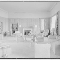 Commodore Louis Beaumont, residence on County Rd., Palm Beach, Florida. Living room, to fireplace