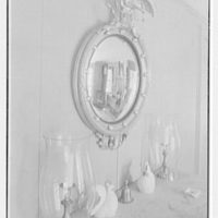 Donald A. McElroy, residence in Bedford, New York. Living room mirror and buffet top