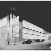 Edo Aircraft Corp., College Point, Long Island. New building from left, at night