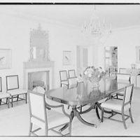 Edwin V. Quinn, residence on Ocean Blvd., Palm Beach, Florida. Dining room, to fireplace