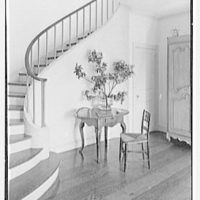 Gerald F. Warburg, residence in Brookville, Long Island. Entrance hall, to staircase
