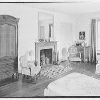 Gerald F. Warburg, residence in Brookville, Long Island. Guest room, to fireplace
