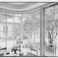 Gerald F. Warburg, residence in Brookville, Long Island. Living room, bay window