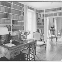 Gerald F. Warburg, residence in Brookville, Long Island. Living room, to dining room