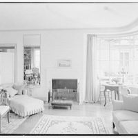 Gerald F. Warburg, residence in Brookville, Long Island. Living room, to fireplace and window II