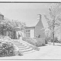 Gerald F. Warburg, residence in Brookville, Long Island. Steps and gable