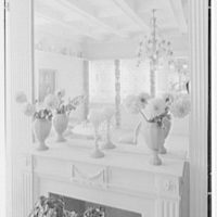 Helena Rubinstein, 16 E. 55th St., New York City. Blue room, fireplace mirror