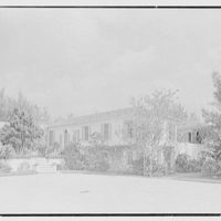 James H. McGraw, Jr., residence in Hobe Sound, Florida. Entrance view, 3 p.m.