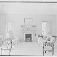 James H. McGraw, Jr., residence in Hobe Sound, Florida. Living room, to fireplace