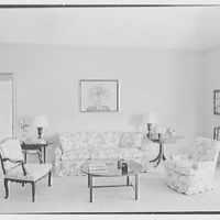 James H. McGraw, Jr., residence in Hobe Sound, Florida. Living room, to sofa