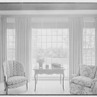 James H. McGraw, Jr., residence in Hobe Sound, Florida. Living room, to window
