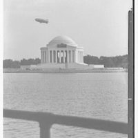 Jefferson Memorial, Washington, D.C. Dirigible over memorial