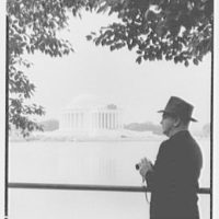 Jefferson Memorial, Washington, D.C. Morning view with Mr. Allen, closeup