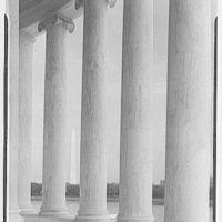Jefferson Memorial, Washington, D.C. View through columns to Washington Monument