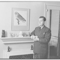 Joseph Mullen, residence at 132 E. 72nd St., New York City. Owls on mantel in bedroom, with Joseph Mullen I