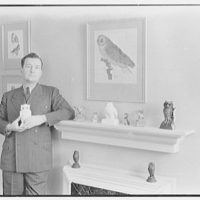 Joseph Mullen, residence at 132 E. 72nd St., New York City. Owls on mantel in bedroom, with Joseph Mullen III