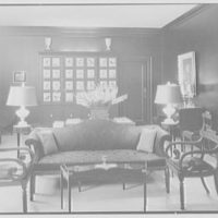Joseph Mullen, residence at 405 Park Ave., New York City. Living room sofa, toward dining end, horizontal