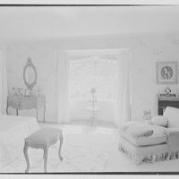 Lewis S. Cates, residence on Riversville Rd., Greenwich, Connecticut. Bedroom, to bay window