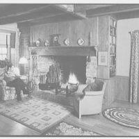 Louis H. Engel, residence in Carversville, Bucks County, Pennsylvania. Living room fireplace