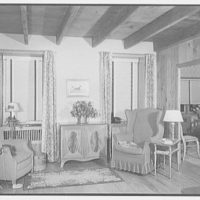 Louis H. Engel, residence in Carversville, Bucks County, Pennsylvania. Living room, end wall