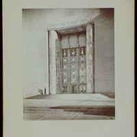 Master prints. Brooklyn Public Library (Ingersoll Memorial), Prospect Park Plaza, New York, entrance detail