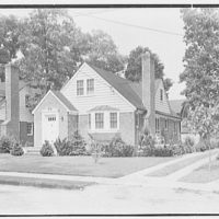 Mr. Alfred W. Koch, residence at 42 Hawthorne St., Lynbrook, Long Island. General entrance view from across street