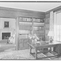 Mrs. Schoolfield Grace, residence on Overlook Rd., Locust Valley, Long Island. Library, to living room