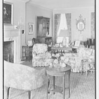 Mrs. Schoolfield Grace, residence on Overlook Rd., Locust Valley, Long Island. Living room, to secretary