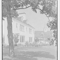 Nathan R. Allen, residence on Meadowcroft Ln., Greenwich, Connecticut. East facade, detail, framed