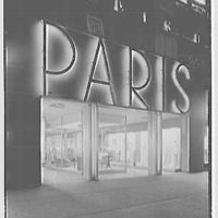 Paris Decorators, business at 2430 Grand Concourse, New York City. Exterior at night