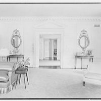 Ralph Holmes, residence on Merriebrooke Ln., Stamford, Connecticut. Living room, to hall