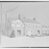 Rodney E. Boone, residence on Elderfield Rd., Manhasset, Long Island. Entrance facade from left